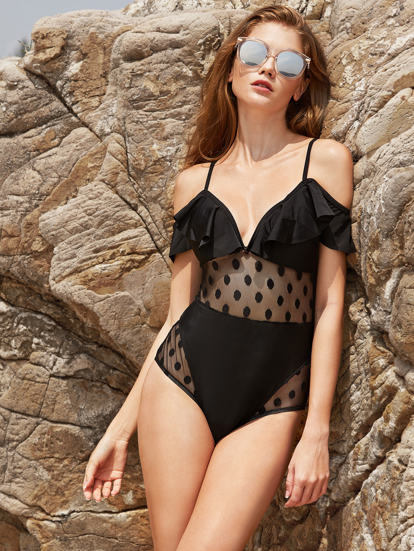 Black Polka Dot Mesh Design Ruffle One-Piece Swimwear