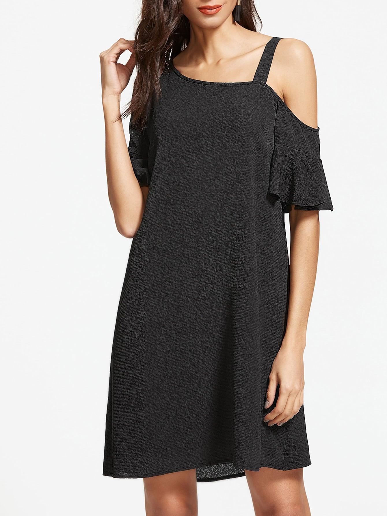 Фото Black Asymmetric Cold Shoulder Ruffle Sleeve Dress. Купить с доставкой