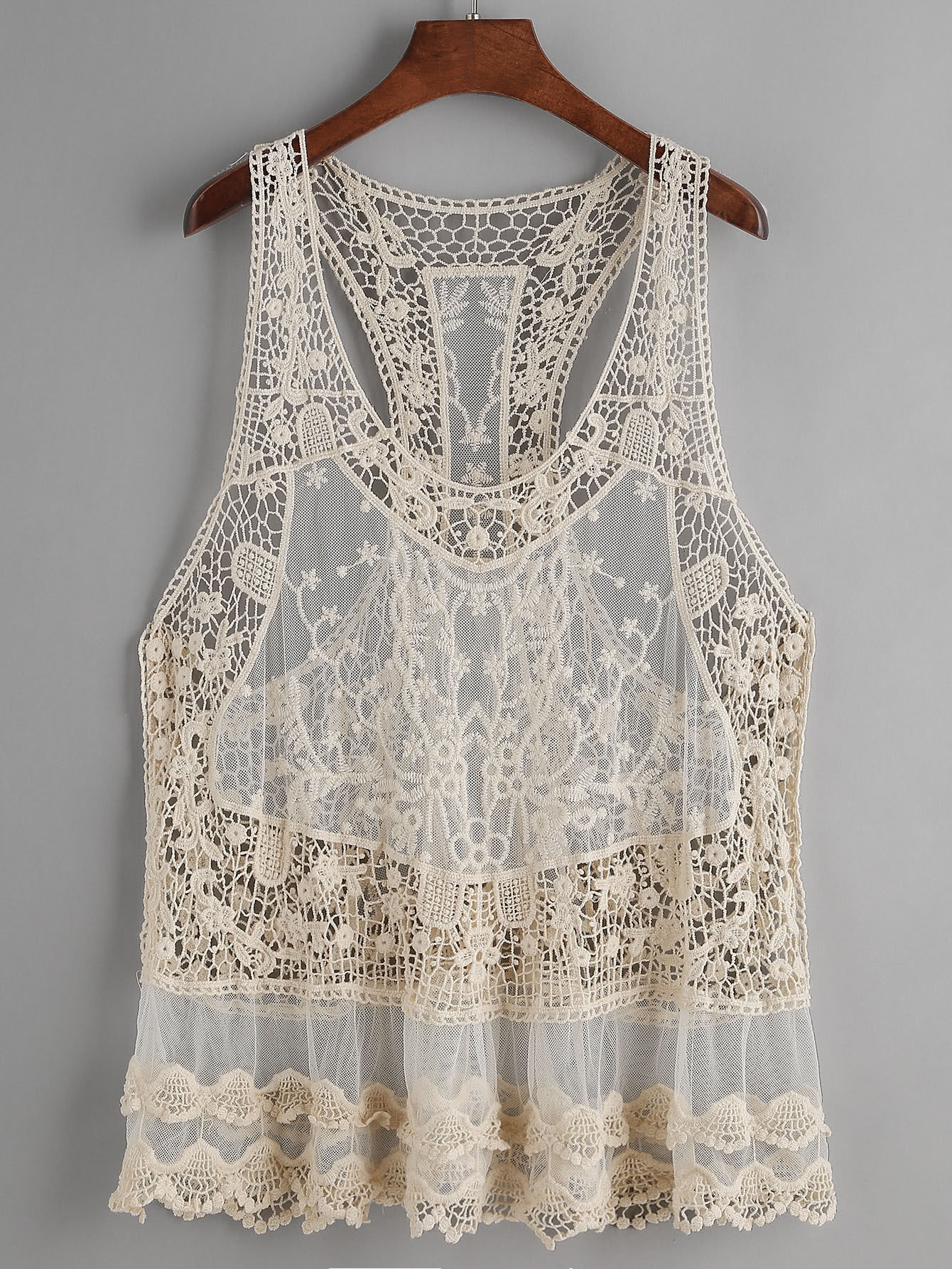 Image of Beige Hollow Out Crochet Lace Tank Top