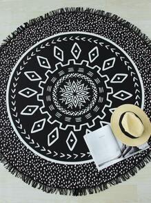 Black Dot Stampa Fringe Particolare tondo Beach Blanket