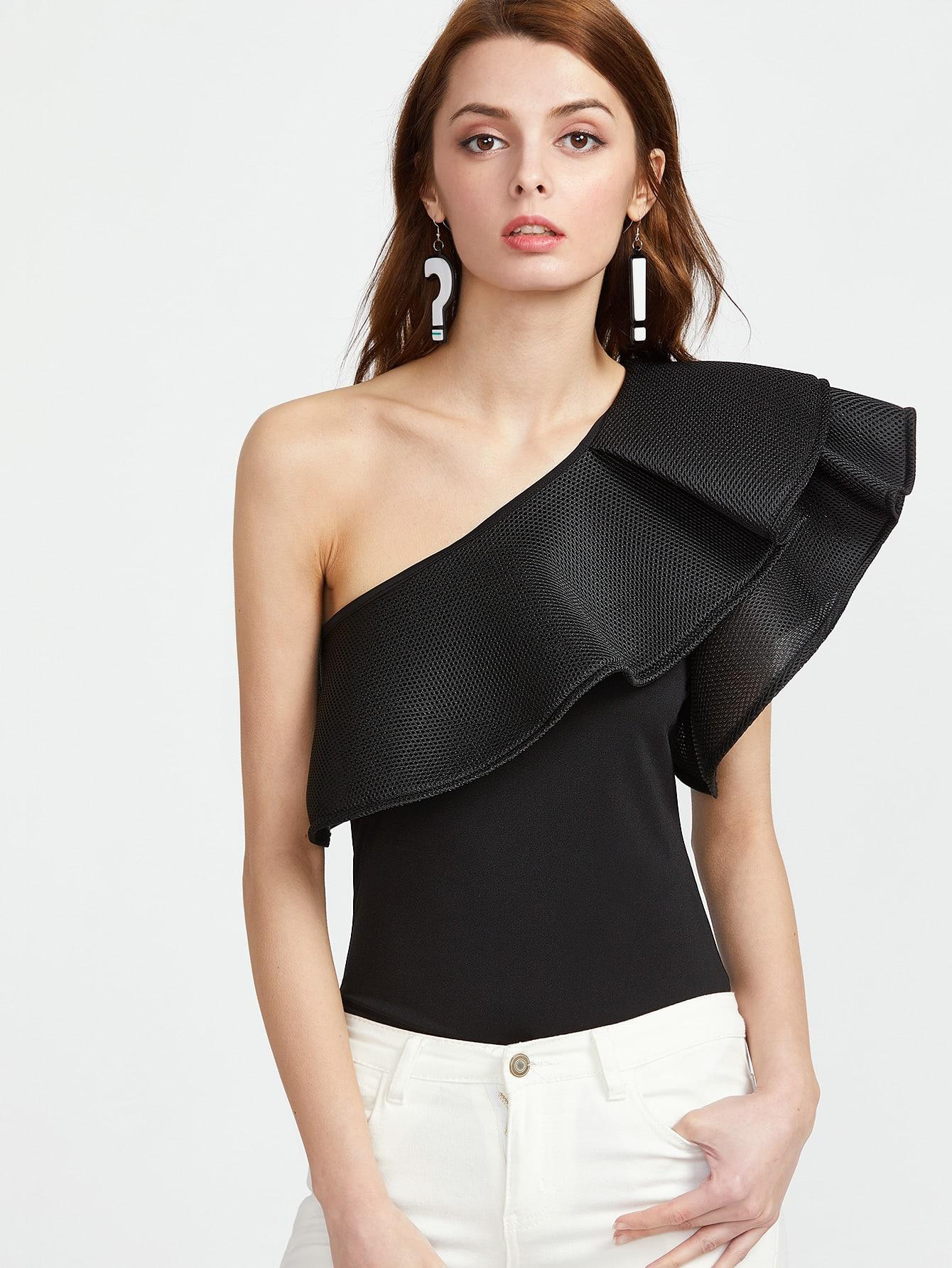 One Shoulder Layered Ruffle Trim Bodysuit