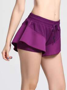 Ruffle Layered Drawstring Waist Shorts