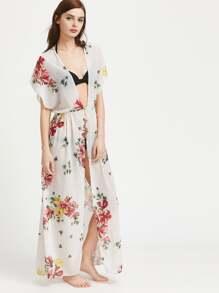 Deep-Plunge Neck Split Front Chiffon Maxi Dress