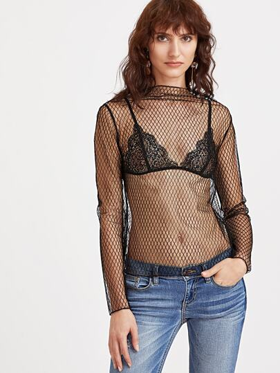 Fishnet Sheer Mesh Blouse