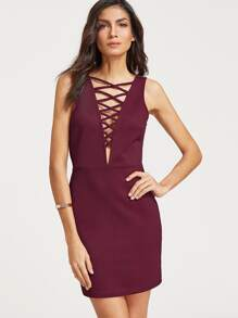 Crisscross Plunge Neck Open Back Textured Dress