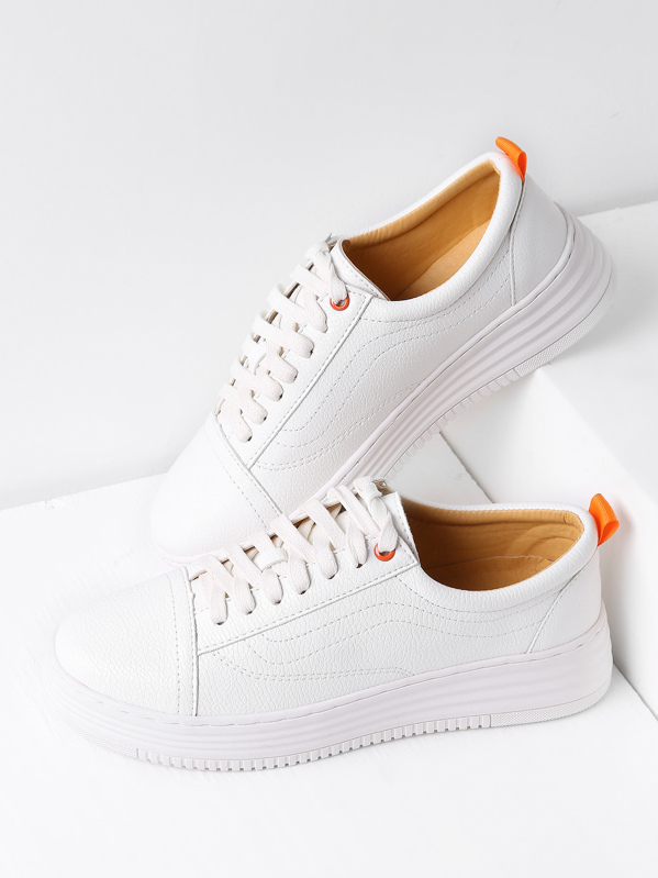 White Round Toe Lace Up Sneakers, null