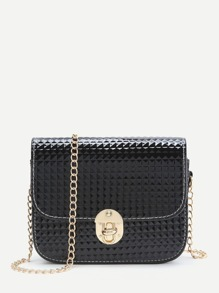 Black Diamond Textured Twist Lock Chain Bag