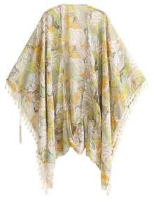 Kimono floral en mousseline avec frange