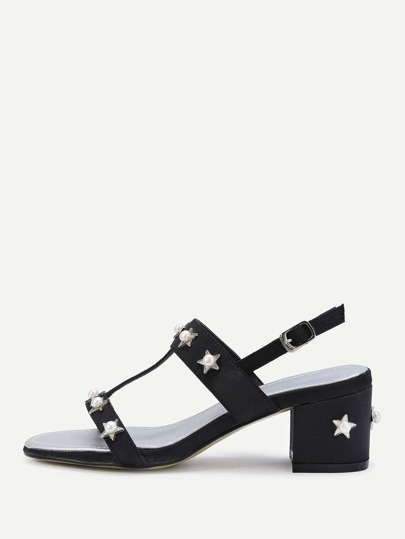 Faux Pearl And Star Block Heeled Sandals