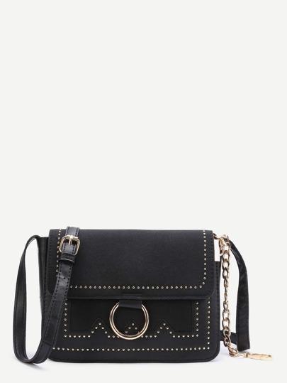حقيبة الكتف تفاصيل الخاتم - سوداء