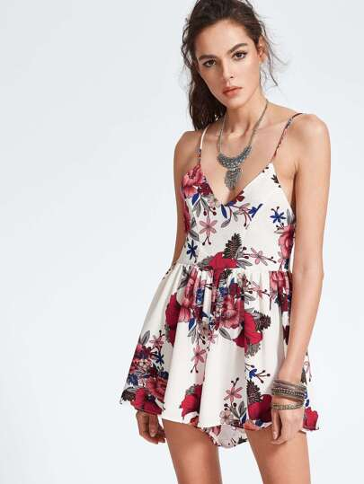 Florals Criss Cross Backless Romper