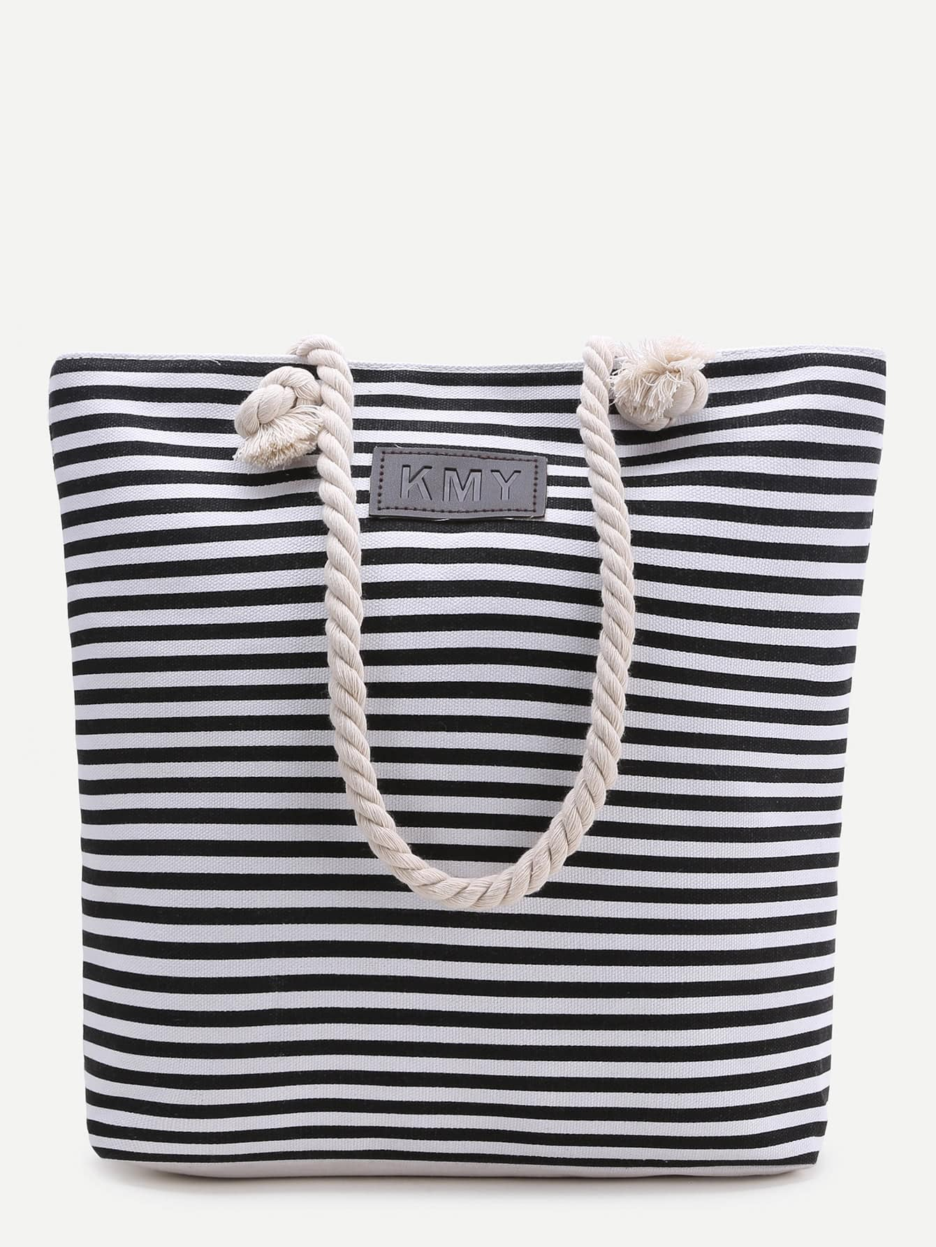 Фото Black Striped Print Tote Bag. Купить с доставкой
