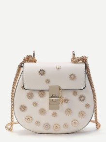 Flowers Detail Twist Lock  PU Crossbody Chain Bag