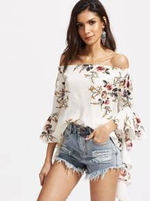 White Florals Off The Shoulder Bell Sleeve Top