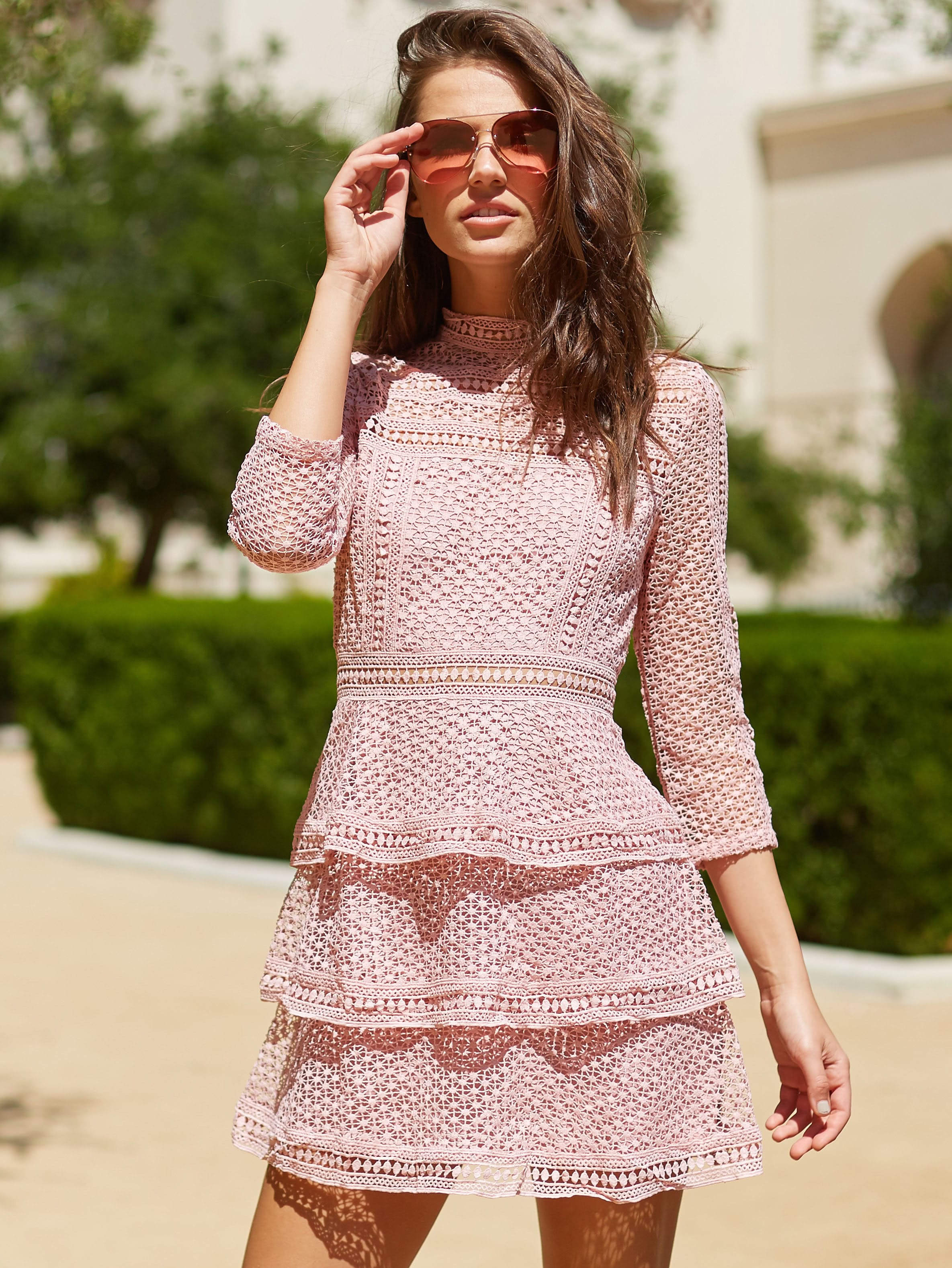 Image of 3/4 Sleeve Layered Dotted Crochet Dress