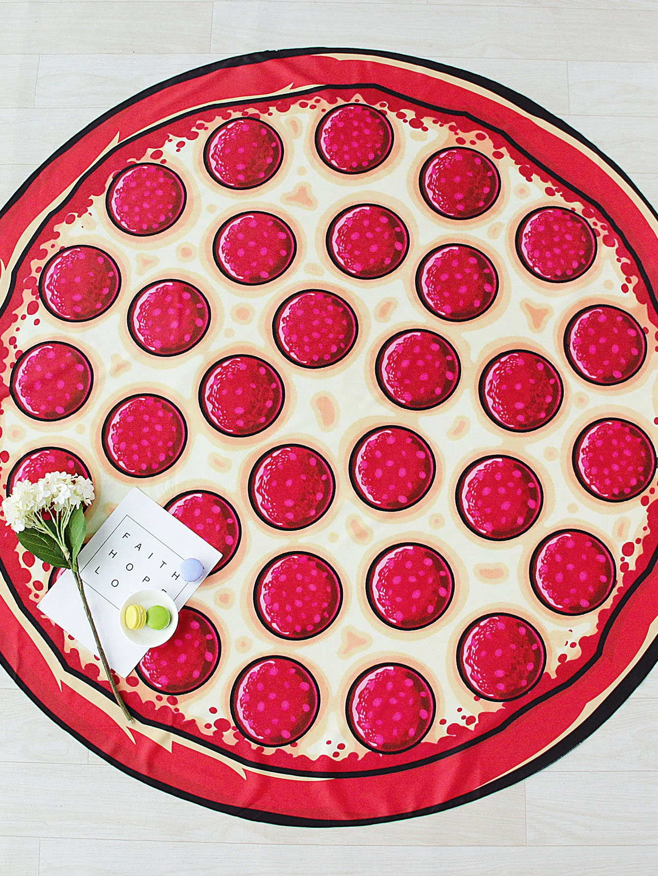 Фото Pizza Print Round Beach Blanket. Купить с доставкой