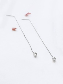 Silver Chain Earrings With Bead