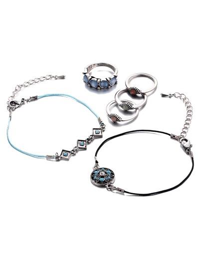 Turquoise pierre gemme géométrique en forme de bijoux set