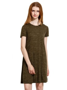 Army Green Tees Short Sleeve Casual Dress