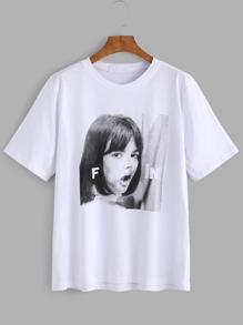 Weißes Mädchen-Druck-T-Shirt