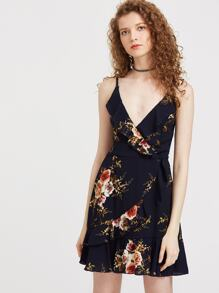 Strappy Floral Ruffle Trim Slip Dress