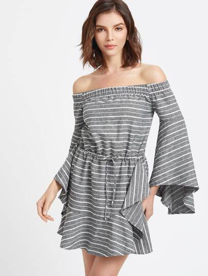 Grey Striped Off The Shoulder Bell Sleeve Ruffle Dress