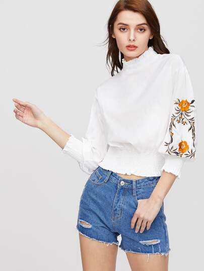 Flower Embroidered Lantern Sleeve Shirred Hem Blouse