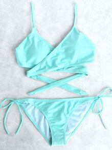 Jade Blue Side Tie Wrap Bikini Set