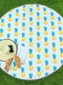 Pineapple Print Pom Pom Trim Circle Beach Blanket