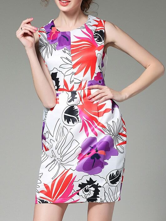 Фото Multicolor Crew Neck Print Sheath Dress. Купить с доставкой