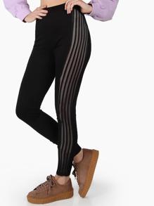 pantalon rayé grille sur le côté - noir