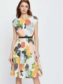 Colorful Flower Print Fit&Flare Belted Dress