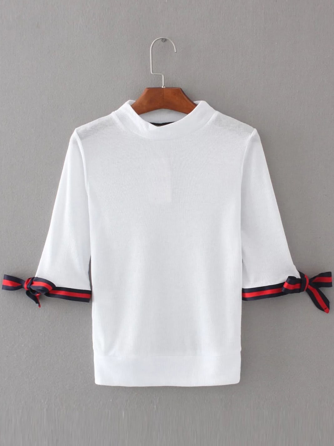 Фото Striped Trim Tie Cuff Top. Купить с доставкой