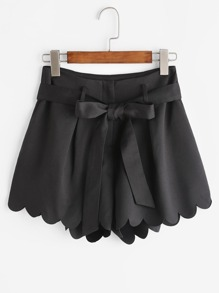 Scallop Edge Tie Waist Shorts
