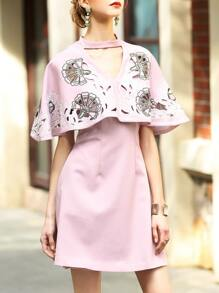 Pink Hollow Embroidered Cape Dress