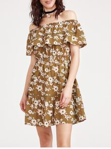 Flounce Layered Neckline Ditsy Print Dress