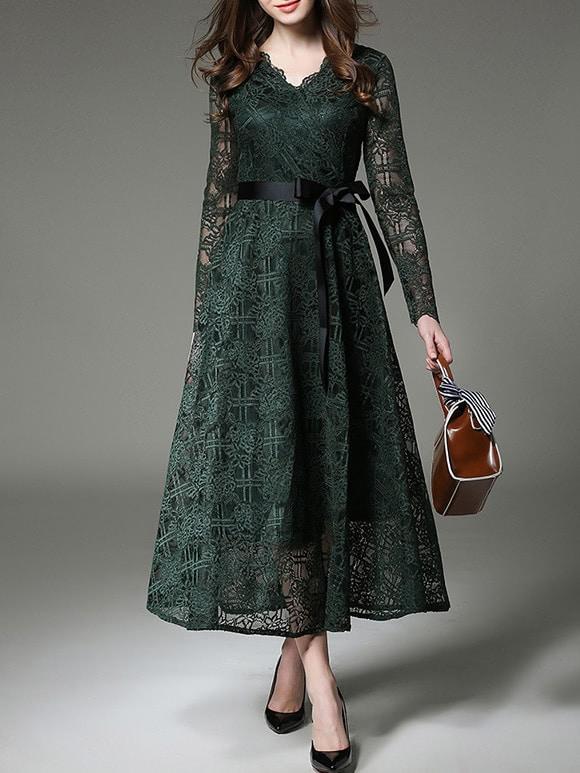 Фото Green V Neck Tie-Waist Sheer Lace Dress. Купить с доставкой