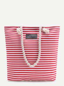 Red Striped Print Tote Bag