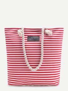 Red Striped Print Tote Bag