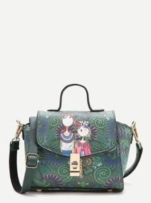 Зелёная кожаная  сумка с принтом