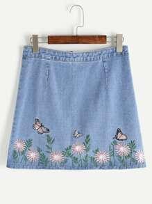 Falda con bordado con cremallera en denim - azul