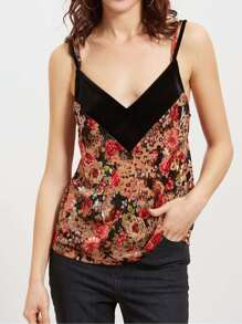 Top imprimé floral velours -multicolore