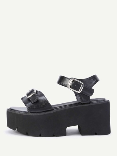 Buckle Strap Wedge Sandals