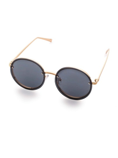 Gold Frame Flat Round Lens Sunglasses