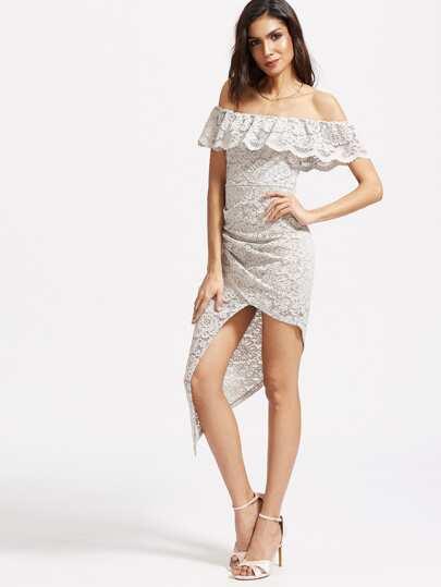 Frill Off Shoulder Asymmetric Wrap Lace Dress