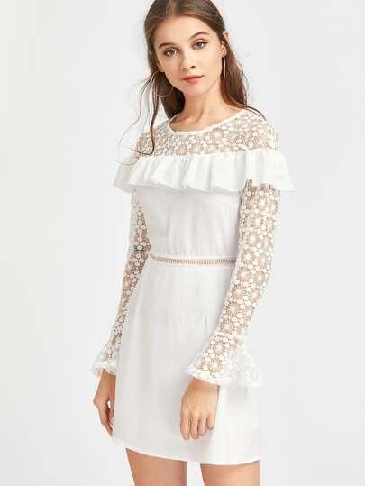 Contrast Lace Frill Trim Bell Cuff Dress