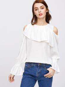 Cold Shoulder Bell Cuff Frill Top