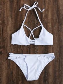 White Ladder Cutout Ring Detail Halter Bikini Set
