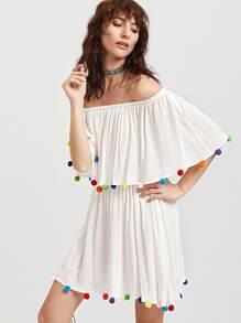 Pom Pom Trim Bardot Pleated Dress