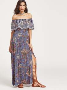 Vintage Print Off Shoulder Frill Slit Dress